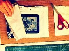 Cut fabric & measure around Kindle