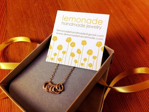Lemonade Handmade quintet gold rings necklace