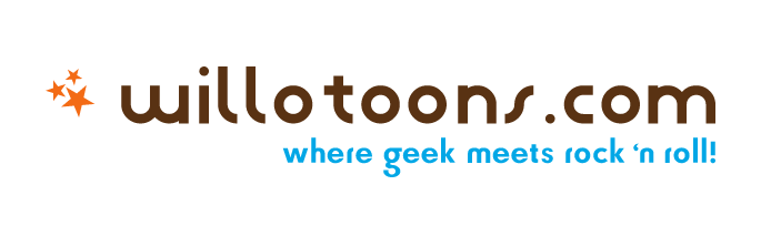 willotoons logo where geek meets rock 'n roll