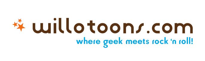 willotoons logo where geek meets rock 'n roll