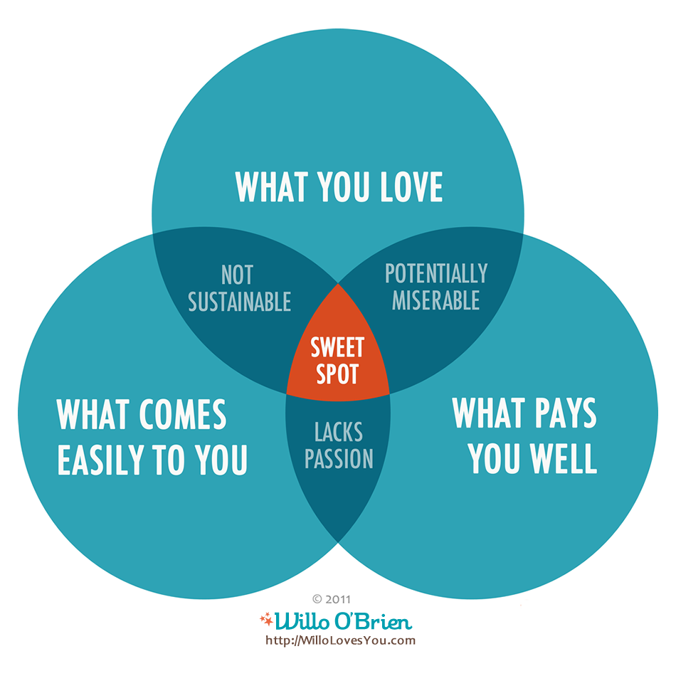 The joy of work whats your guiding compass willolovesyou sweet spot venn diagram by willo obrien pooptronica Images