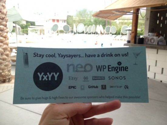 YxYY Drink tickets - thanks to our awesome sponsors!